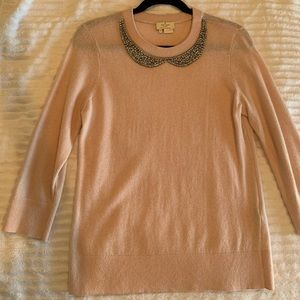 Blush pink Kate Spade sweater with jewel collar